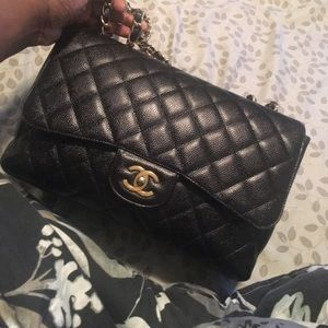 Chanel jumbo single flap caviar leather